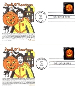Jack O'Lantern Panda Cachet Set of 4 Singles First Day Cover M/C