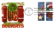 Happy Holidays Panda Cachet Block of 4 First Day Cover R/C