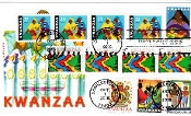 Kwanzaa Panda Cachet Multiple Stamps, Multiple Cancels First Day