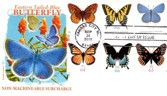 Eastern Tailed-Blue Butterfly Panda Cachet Set of 6 Stamps First