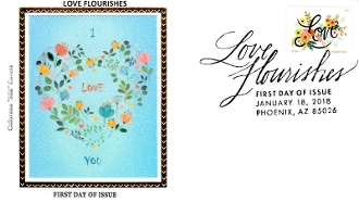 Love Flourishes Colorano Silk Cachet FDC R/C